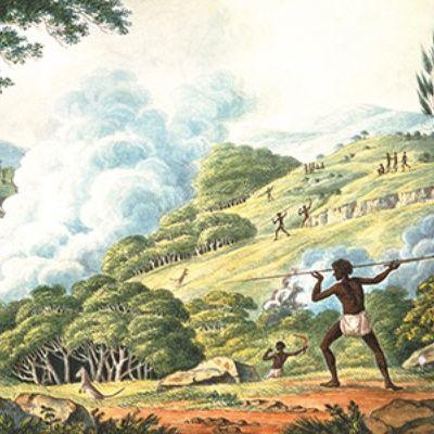 Detail from Joseph Lycett's c.1820 painting, 'Aborigines using fire to hunt kangaroos'  Nat.Lib.Aust.