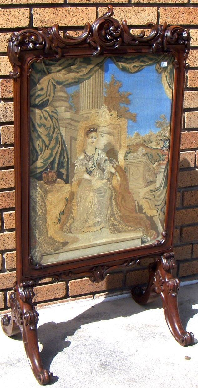 victorian fireplace screens | screen | Magnificent Antique Victorian Rosewood Crewel Fire Screen ...