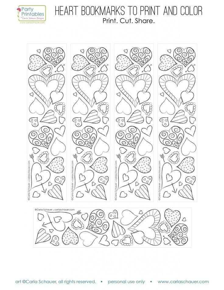 Printable Valentine coloring bookmarks | Carla Schauer Designs