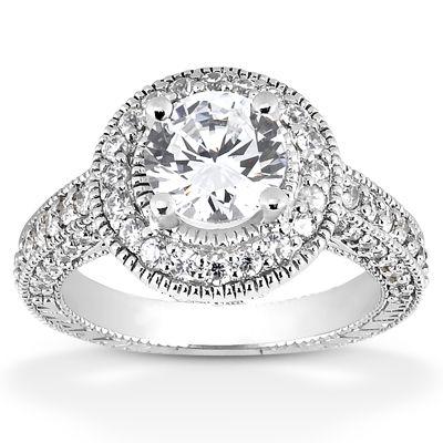ApplesofGold.com - 1.31 Carat Antique Halo Engagement Ring, $2,975
