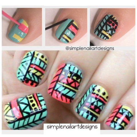 Tribal Print Nails in turquoise, pink and yellow with black details nail art design