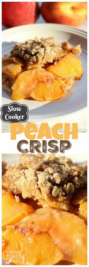 Slow Cooker Peach Crisp is the perfect summer dessert, especially when served a la mode! Juicy peaches combined with a crunchy topping is always a WIN! via @favfamilyrecipz