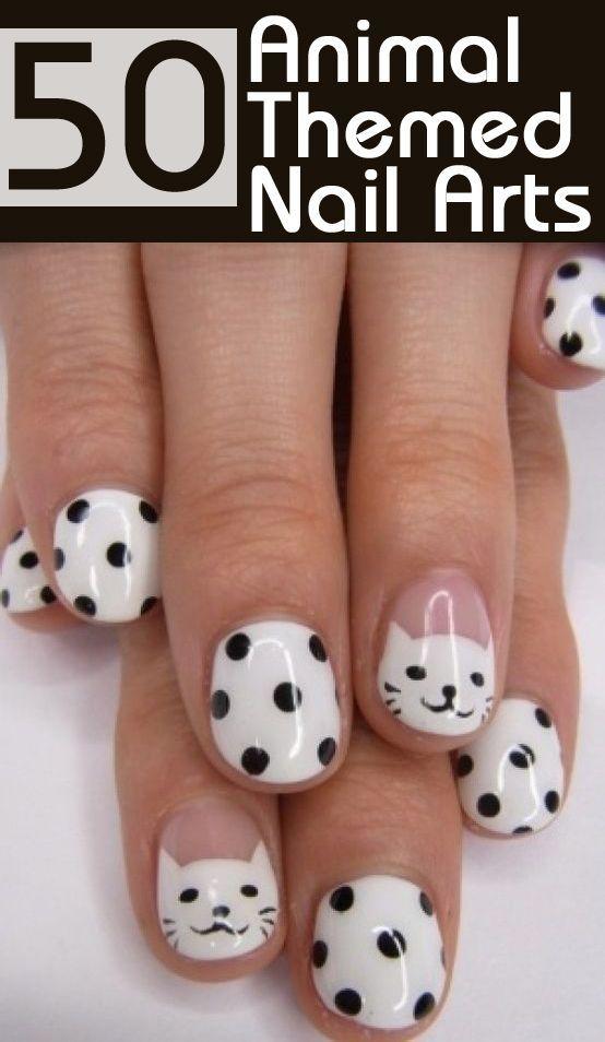 Para las amantes de los gatos, un diseño para sus uñas con las que acarician a sus gatitos...♥Kro♥ 50 Animal Themed Nail Arts ♥Kro♥