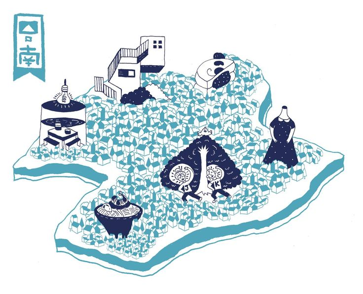 Illustrated map for GQ Taiwan // 插畫家 飛飛飛, Flyflyfly
