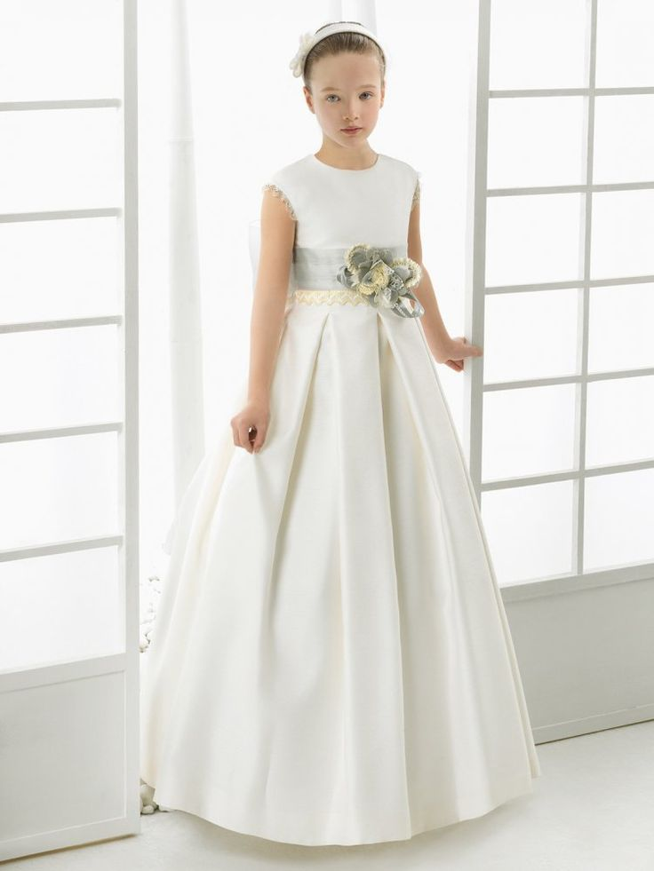 Sleeveless Jewel Neck A-Line Satin Communion Dress With Flower Ribbon