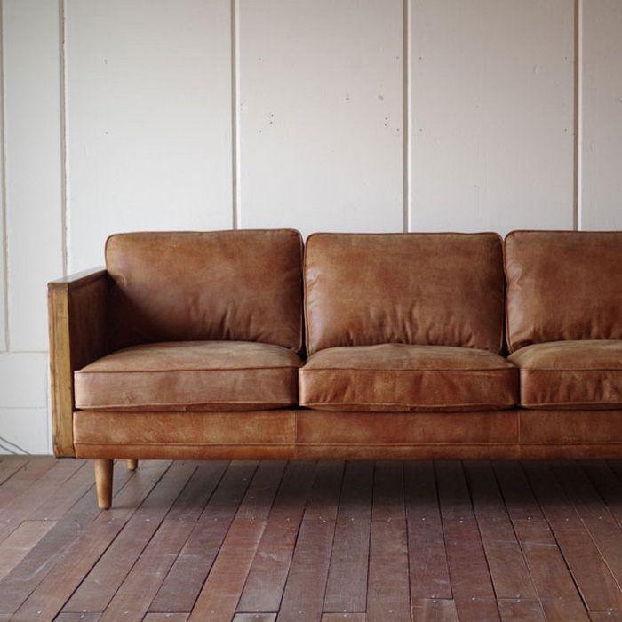 ・ヴィンテージスタイルレザーとウッドの3Pソファ・英国アンティークスタイル・北欧アンティークモダンデザイン・革ヴィンテージレザー本皮張り椅子・古材ウッド無垢ブラウン