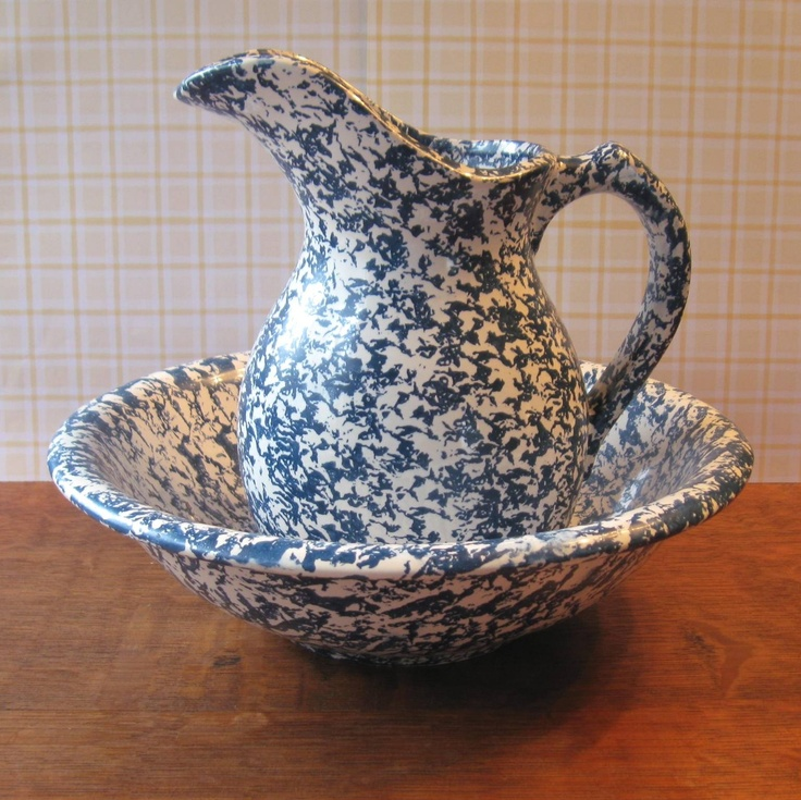 Spongeware Bowl and Pitcher by McCoy - Blue Spatterware ...