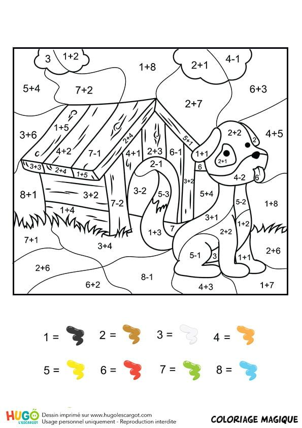 Coloriage Chien Dans Sa Niche.Coloriage Et Illustration D Un Coloriage Magique Ce1