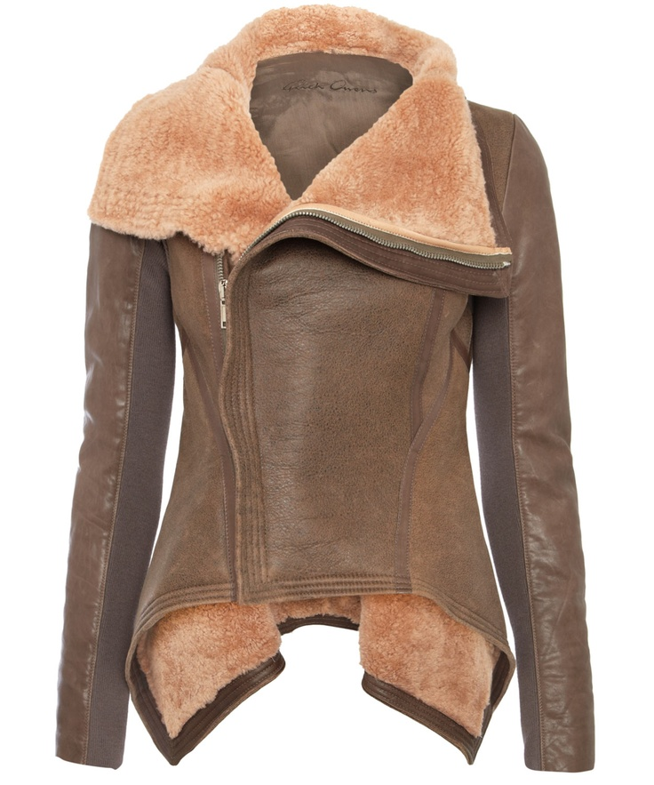 Rick Owens Brown Shearling and Leather Jacket