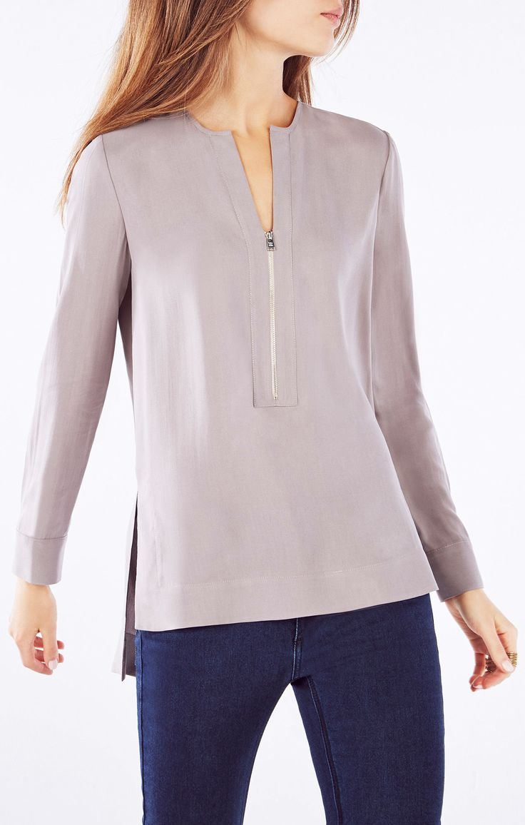 Sharri Zip-Front Silk Blouse