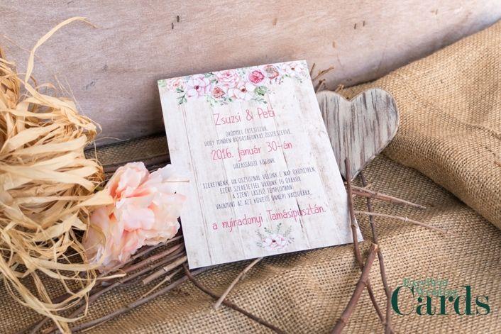 Rustic blooms esküvői meghívó