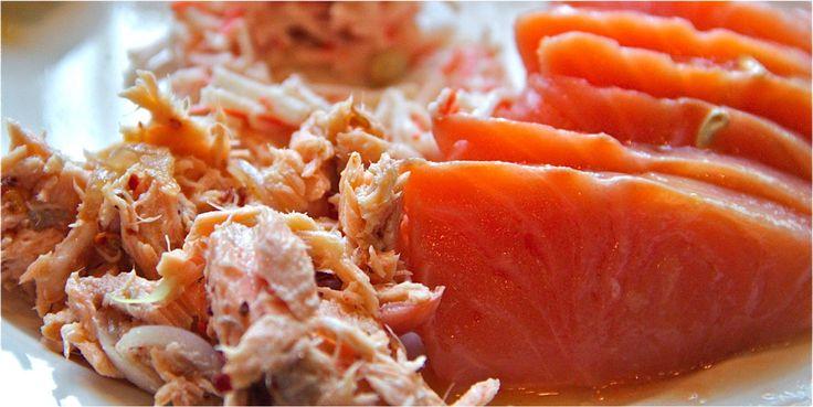 Salmon Sashimi & tuna salad