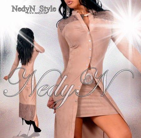 NedyN barna szarvasbőr hatású női maxi ruha  - kardigán