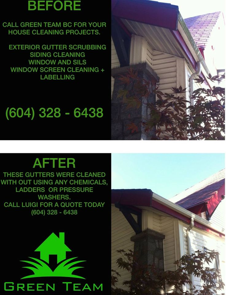 Gutter Cleaning #Before&After of moss, grime and  mould that has built up on the gutters over the years. We scrubbed it with our imported (Germany) water fed pole and it worked very well.  #NoLadders #NoChemicals #NoStreaks #GreenTeamBC