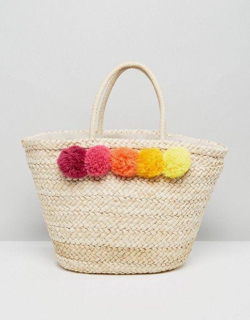 Pimkie Pom Pom Straw Beach Bag