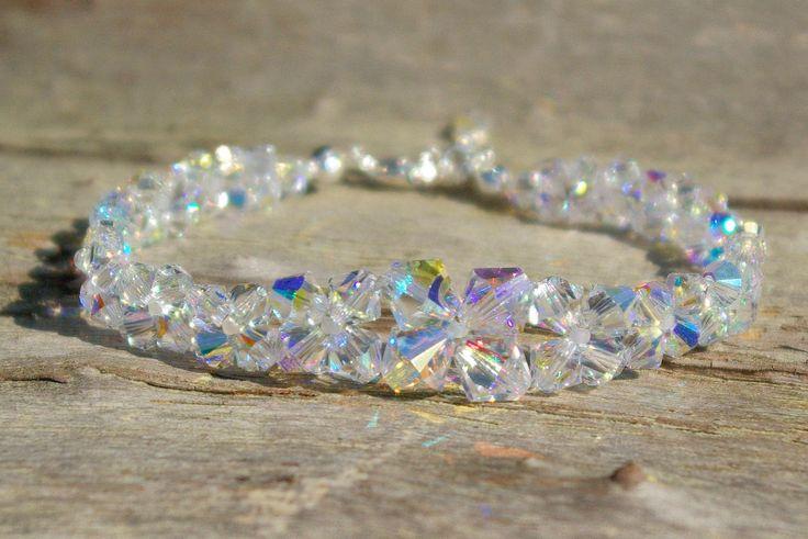 Swarovski Crystal Bracelet Clear AB Bracelet Bridal Crystal Swarovski Clear AB Bracelet Swarovski Crystal AB Bracelet Wedding Bracelet by AuroraCrystalPassion on Etsy