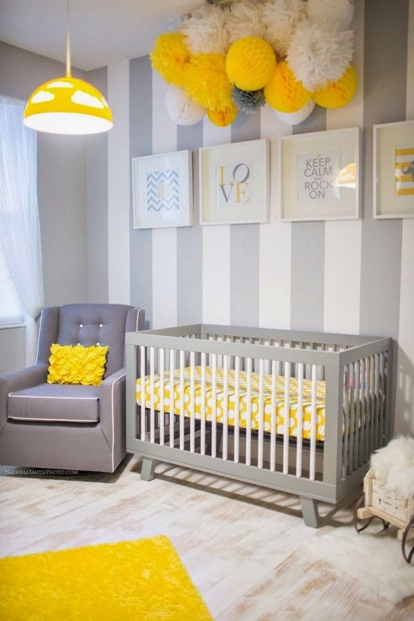 Chambre bébé mixte jaune et grise