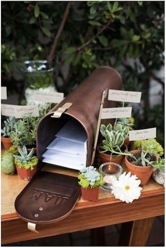 DIY Mailbox Card Holder. Also like the potted plants.