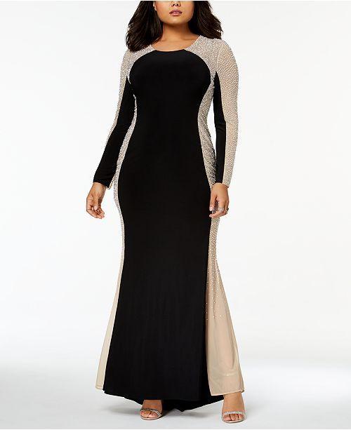 c2cba270d25 XSCAPE Trendy Plus Size Beaded Illusion Gown - Dresses - Women - Macy s