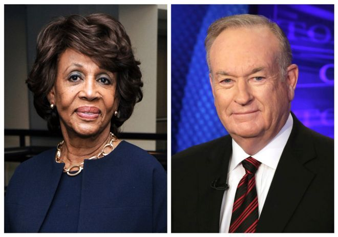 """In this combination photo, Rep. Maxine Waters, D-Calif., left, appears at the Justice on Trial Film Festival on Oct. 20, 2013, in Los Angeles and Fox News personality Bill O'Reilly appears on the set of his show, """"The O'Reilly Factor,"""" on Oct 1, 2015 in New York"""