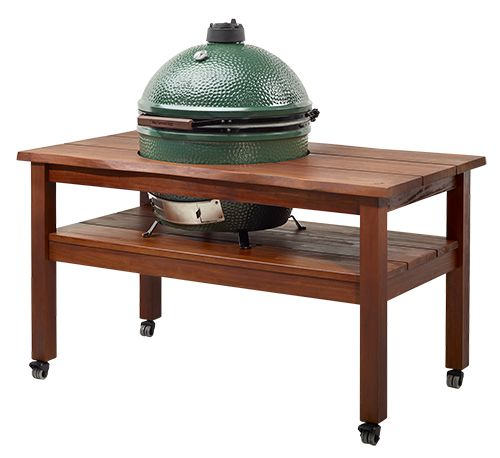 Made from warm tropical mahogony wood, artisan tables for the Big Green Egg offer ample and convenient working and serving aresa for the Large or XLarge EGGs. Available at Rich's for the Home http://www.richshome.com/.