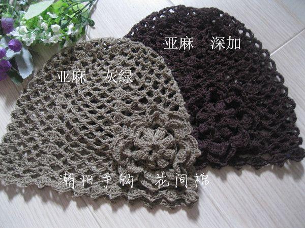 Alibaba グループ | AliExpress.comの Skullies & ビーニー からの 約高さが20cmキャップ、 底54センチメートルについて、 のストレッチです材料: アイスコットンリネンシルク色の綿のコーヒー、 近い物理モデル写真 中の 春と夏の花レ トロ手織り綿透かし かぎ針編み帽子帽子包頭
