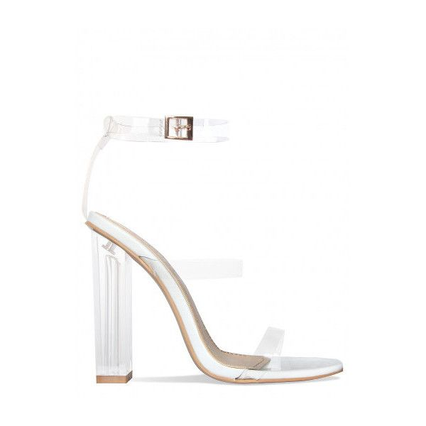 Darcia White Patent Clear Strap Heels : Simmi Shoes ($9.04) ❤ liked on Polyvore featuring shoes, pumps, white pumps, white court shoes and white shoes