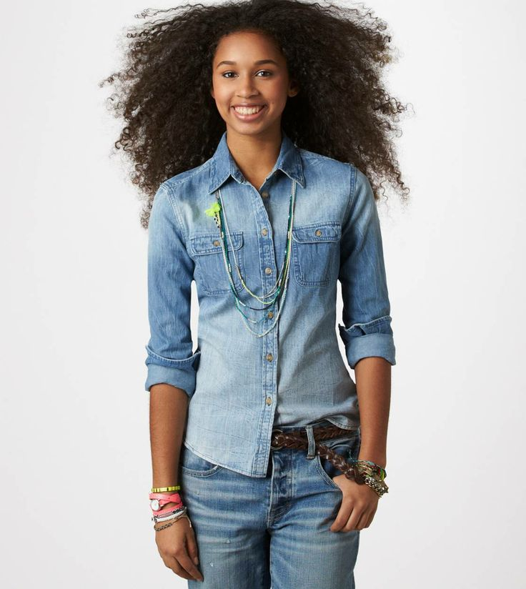 AE Denim Workwear Shirt #denim #trendy | Summer Essentials! | Pintere ...