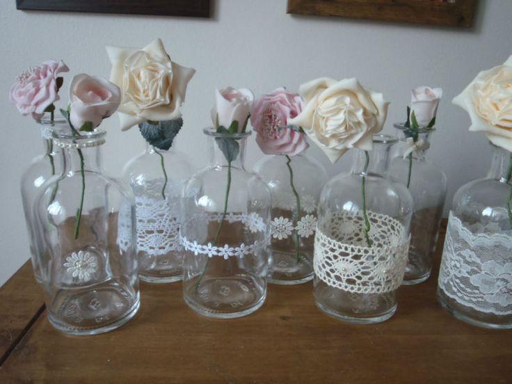 Ml glass bottles bud vases vintage lace pearls