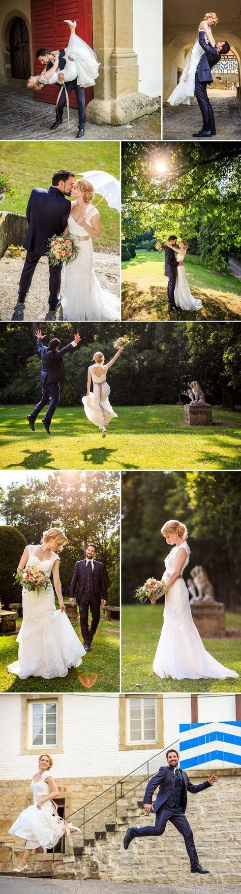 Im Schlosspark entstanden beim Brautpaarshooting viele romantische Bilder mit zum Teil wunderbar kreativen Posen. Dabei bot der Schlosspark eine traumhafte Kulisse! I © Matt Stark