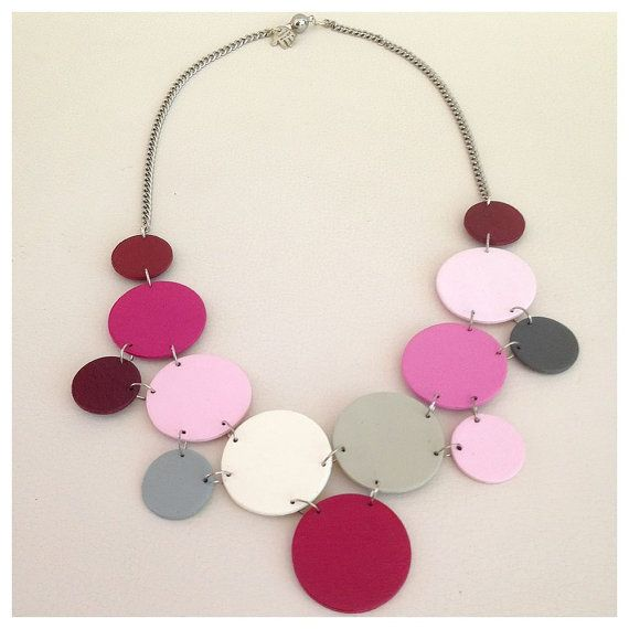 Modern geometric wooden necklace in different shades of by dibimi, $42.00
