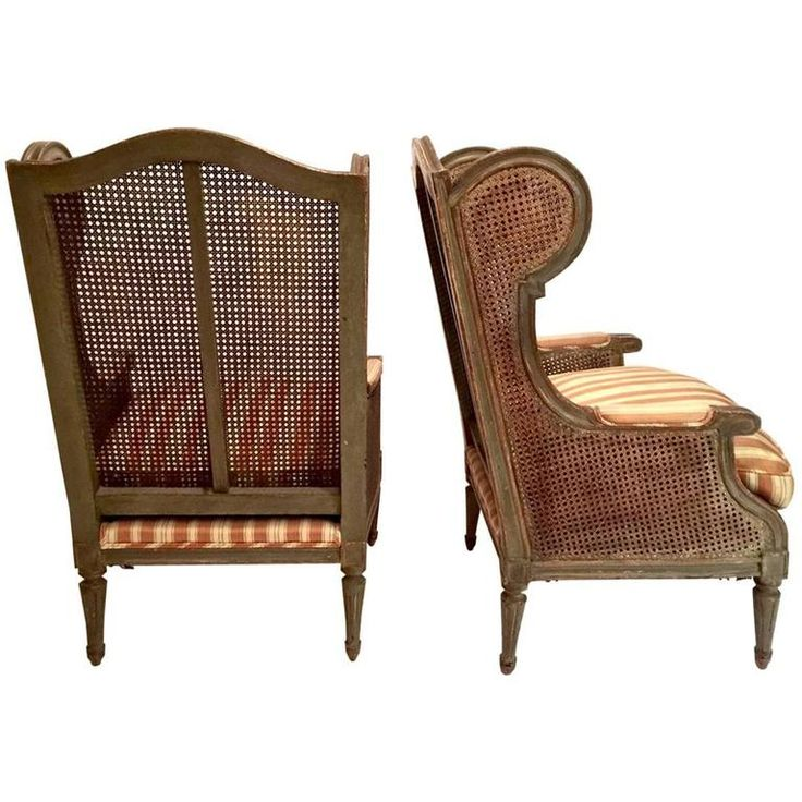Pair of Early 20th Century French Caned Wingback Chairs