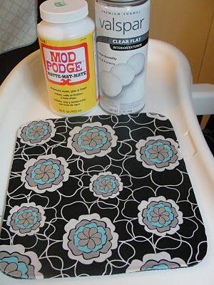 Mod Podge fabric onto an old mousepad!