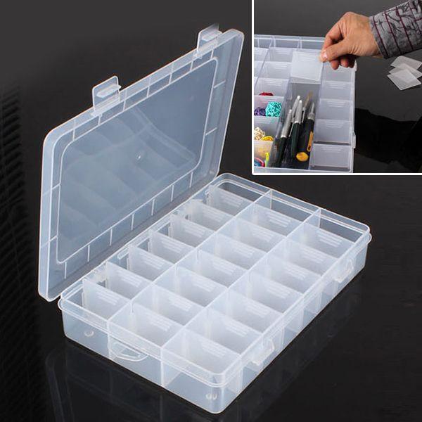 Новый практический регулируемый пластиковые 24 отсек коробка для хранения чехол бусины кольца ювелирные изделия организатор купить на AliExpress