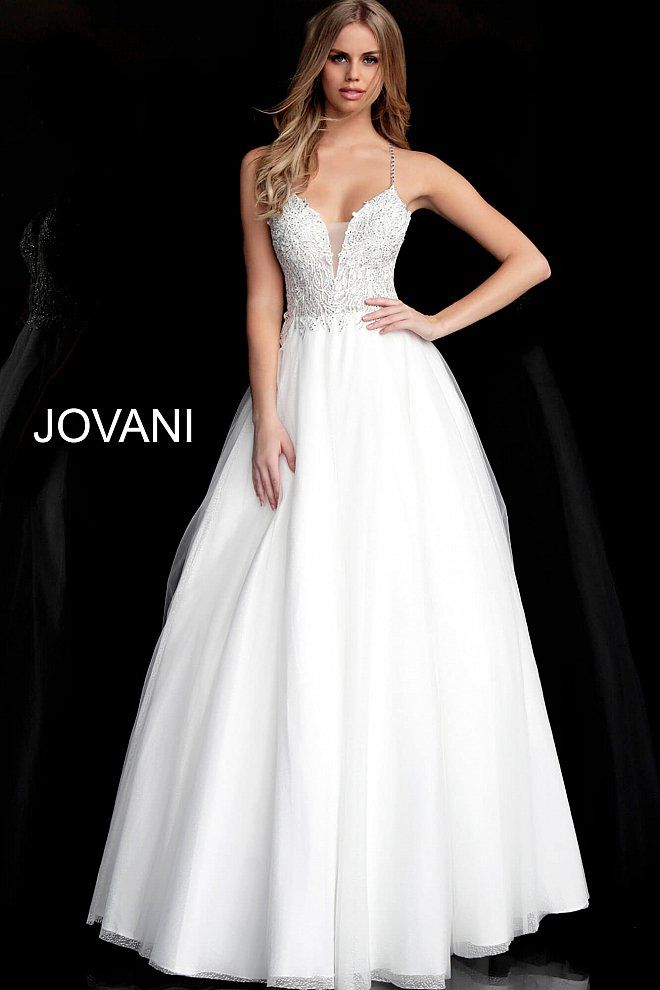 985bfeb99752 White Embroidered Criss Cross Back Prom Ballgown 65911 in 2019 ...