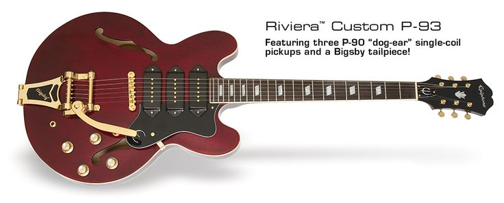 Riviera Custom P93: Featuring three P-90 dog ear single coil pickups and a Bigsby tailpiece!
