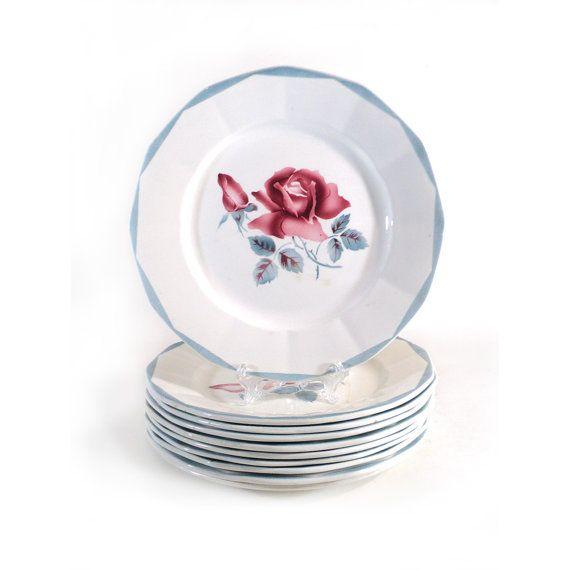 6 lovely porcelain Plates stamped Sarreguemines, Digoin, Rosita France.