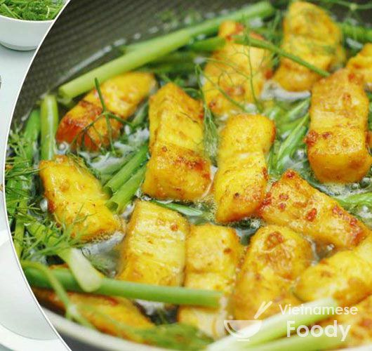 Hanoi Tumeric Fish with Dill (Cha Ca La Vong) Recipe Main Dishes with fish sauce, fresh pineapple, garlic, thai chile, lime juice, sugar, halibut, rice vermicelli, canola oil, fish sauce, ground turmeric, baton, fronds, roasted peanuts
