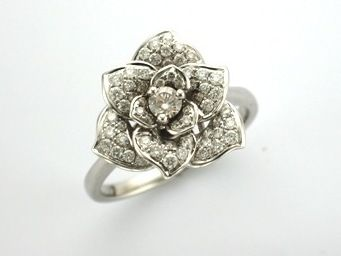 'SADIE' --  Luxury Rose Ring Pave set with Brilliant Cut Diamonds  with layers of Petals in 18ct White Gold.   Diamond Wt. 0.70ct G/VS
