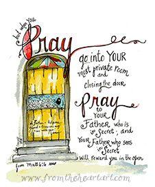 Prayer: Yellow Door (Matt.6:6) Print