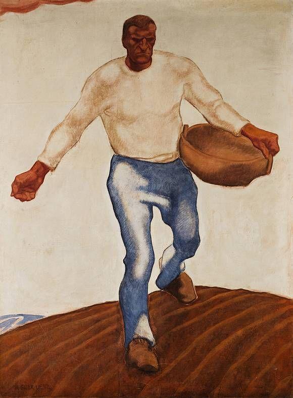 Albin Egger-Lienz, Der Sämann. Vor 1914, Tempera (Kasein) auf Leinwand,  240 x 170 cm.