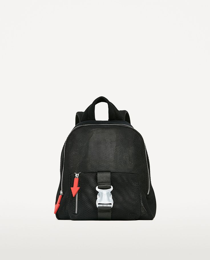 MESH BACKPACK WITH PULL-TABS DETAIL