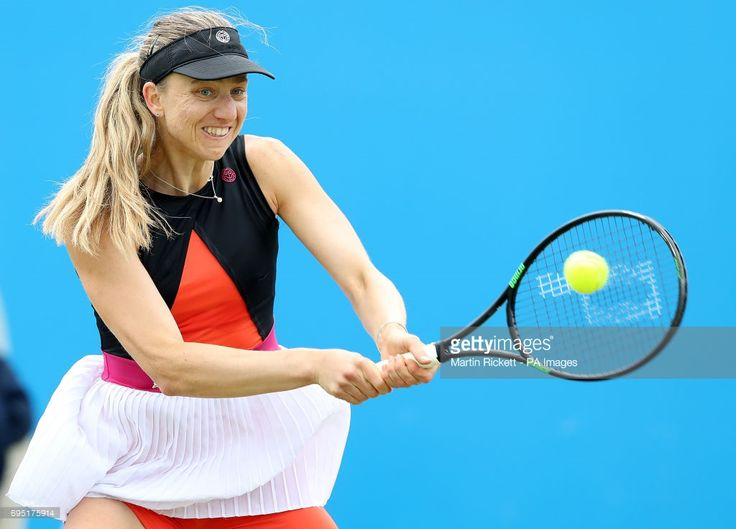 Germany's Mona Barthel in action against Croatia's Jana Fett, during day one of the AEGON Open Nottingham at Nottingham Tennis Centre.