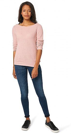 Comfortabele gebreide trui voor dames (eenkleurig, met lange mouwen en een wijde ronde hals) - TOM TAILOR