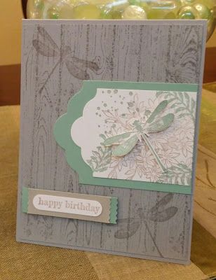 hand crafted birthday card from Windy's Wonderful Creations ... color challenge of neutral colors perfect for a male ... woodgrain ... dragonflies ... tag punch focal point with collage style satmping ... Stampin' Up!