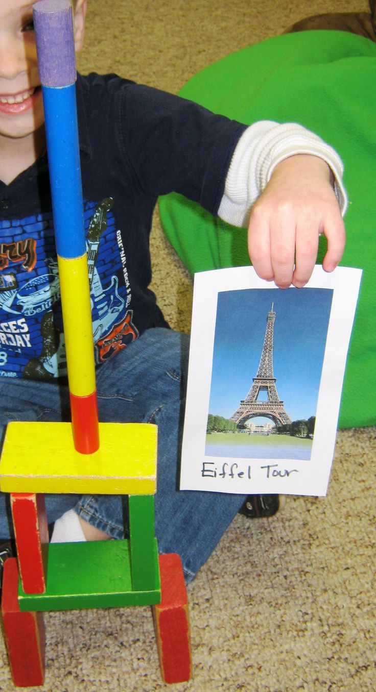 Inspired block play at Benson Memorial UMC Preschool and Kindergarten Prep - Raleigh NC 27612.  When a new topic comes up in conversation, we like to explore that topic.  One of our children had heard about the Eiffel Tower in a movie. She wanted to draw it in her journal but wished she could see it again first. We printed up pictures and inspiration spread to the block/building center. This is an example of Emergent Curriculum in action.