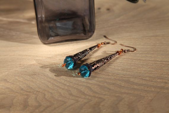Blue crystal unique handmade copper earrings whith by alfiyaV