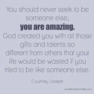 never seek to be someone else you are amazing
