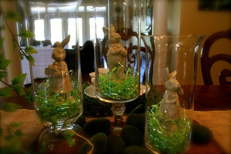 Dollar Tree Decor - can be done for ANY holiday! Just pick up a few of those glass vases, some figurines, and tinsel/leaves/Easter grass!
