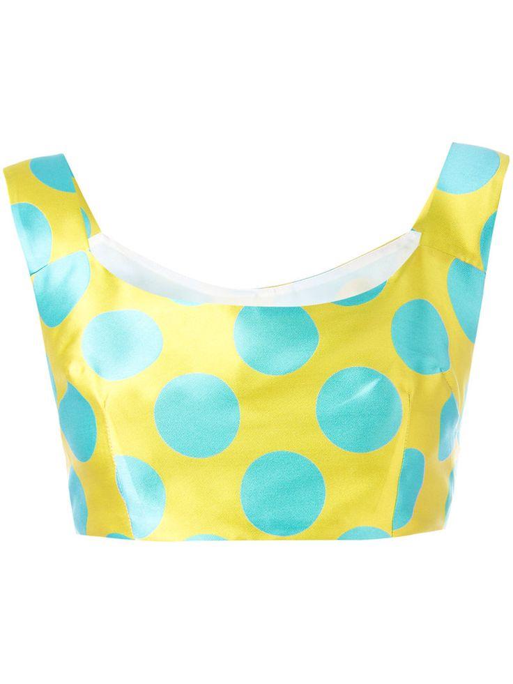 ¡Cómpralo ya!. Ultràchic - Polka Dot Cropped Top - Women - Silk/Polyester/Acetate/PBT Elite - 42. Yellow and blue polka dot cropped top from Ultràchic. Size: 42. Color: Yellow/orange. Gender: Female. Material: Silk/Polyester/Acetate/PBT Elite. , topcorto, croptops, croptop, croptops, croptop, topcrop, topscrops, cropped, topbailarina, corto, camisolacorta, crop, croppedt-shirt, kurzestop, topcorto, topcourt, topcorto, cortos. Top corto  de mujer color amarillo,naranja oscuro de ULTRÀCHIC...